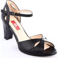 Dgn Kadın 309 Bilekten Bağlı Burnu Açık 11 Pont Topuklu Ayakkabı Siyah