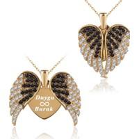 İndigo Takı Aşkın Kanatları İsimli Altın Kaplama Gümüş Kolye