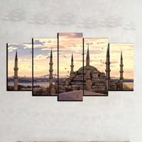 Kanvas Burada DİN5-29 Sultan Ahmet Cami 5 Parçalı Kanvas Tablo - 120 x 60 cm
