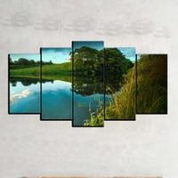 Kanvas Burada MNZ5-789 Manzara 5 Parçalı Kanvas Tablo - 120 x 60 cm