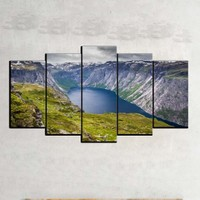 Kanvas Burada MNZ5-1314 Manzara 5 Parçalı Kanvas Tablo - 120 x 60 cm