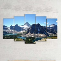Kanvas Burada MNZ5-2287 Manzara 5 Parçalı Kanvas Tablo - 120 x 60 cm