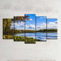 Kanvas Burada MNZ5-2283 Manzara 5 Parçalı Kanvas Tablo - 120 x 60 cm