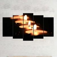 Kanvas Burada ABS5-241 Soyut 5 Parçalı Kanvas Tablo - 120 x 60 cm