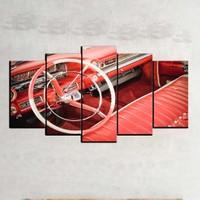 Kanvas Burada ARC5-58 Araç Direksiyon 5 Parçalı Kanvas Tablo - 120 x 60 cm