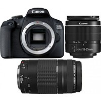Canon EOS 2000D + 18-55 MM. IS2 + 75-300 MM. Double Kit ( Canon Eurasia Garantili)