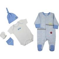 Baby Corner 5'li Tulumlu Set Mavi Çizgili Araba