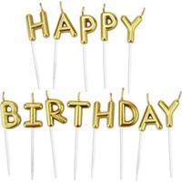 Cansüs Pasta Mumu Happy Birthday Yazılı Kürdan Mum 8 cm Gold