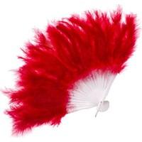Yavuz Tüylü Yelpaze Kına Yelpazesi Kırmızı 27 cm * 37 cm