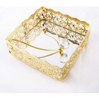 Yavuz Kristal Topuzlu Aynalı Metal Kare Dekoratif Peçetelik Altın 17 cm * 17 cm *6 cm