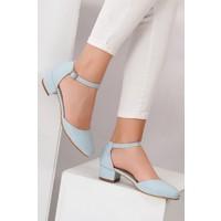 Tarçın TRC01-0142 Kadın Mavi Topuklu Ayakkabı