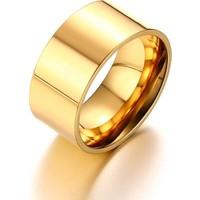 Chavin 10Mm. Geniş Gold Sarı Erkek Çelik Alyans Yüzük Dt02