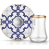 Koleksiyon Dervish Çay Seti 6.Li Karo Çiçek Mat Altin Şeffaf