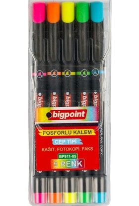 Bigpoint Fosforlu Kalem Cep Tipi 5'Li Set