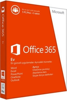 Mıcrosoft Off 365 Home Turkish Middle East Em Subscr 1Yr Medialess P2 6GQ-00676