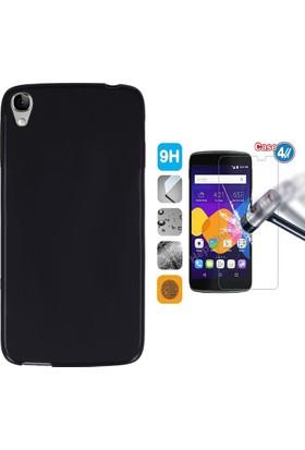 """Case 4U Alcatel İdol 3 5.5"""" Kılıf Silikon Siyah + Cam Ekran Koruyucu"""