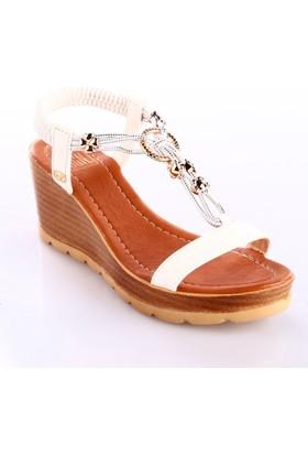 Dgn Kadın 1006 Dolgu Taban T-Strap İp Aksesuarlı Arkası Lastikli Sandalet Beyaz
