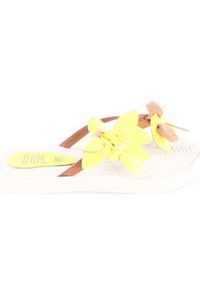 Dgn Kadın 101 Hasır Taban Çiçekli Parmak Arası Terlik Sarı