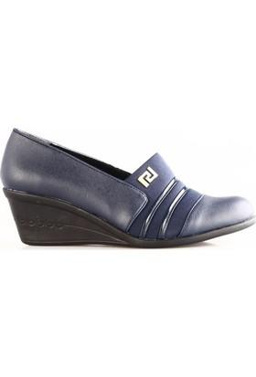 Beety Kadın 10150 Yarı Stretch Yuvarlak Burun Dolgu Taban Ayakkabı Lacivert