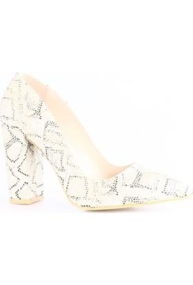 Ma&Li Kadın1018 Sivri Burun Lita Topuklu Ayakkabı Altın Yılan