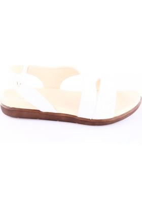 İloz Kadın 107191 Deri Sandalet Beyaz Simli