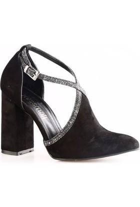 Ma&Li Kadın1426 Sivri Burun Bilekten Yüze Bağlı Lita Topuklu Ayakkabı Siyah Süet