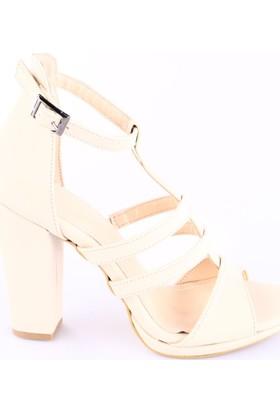 Beety Kadın 1431 T-Strap Lita Topuklu Sandalet Ten