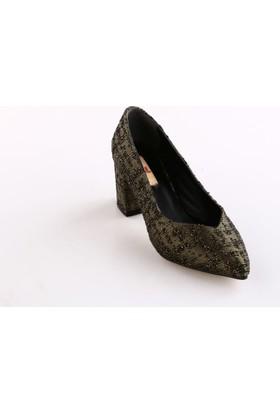Dgn Kadın 144 - 5 Desenli Sivri Burun V Kesim Dekolte Kısa Topuklu Ayakkabı Yeşil