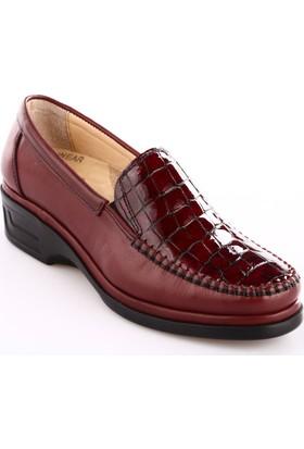 Dgn Kadın 1701 Deri Anatomic Footwear Ayakkabı Kroko Bordo