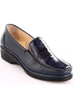 Dgn Kadın 1701 Deri Anatomic Footwear Ayakkabı Lacivert Yılan