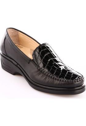 Dgn Kadın 1701 Deri Anatomic Footwear Ayakkabı Kroko Siyah