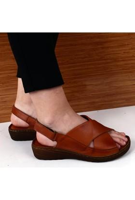 Dgn Kadın İçi Dışı Deri Dolgu Taban Çapraz Yüz Sandalet Prs185 Taba