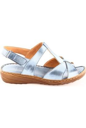Dgn Kadın 18053 Dolgu Taban T-Strap Sandalet Kot Mavi