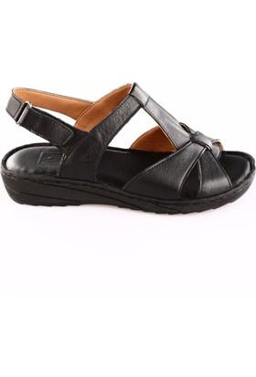 Dgn Kadın 18053 Dolgu Taban T-Strap Sandalet Siyah