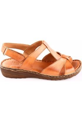 Dgn Kadın 18053 Dolgu Taban T-Strap Sandalet Taba