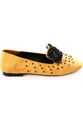 Dgn Kadın 18093 Taşlı Makosen Ayakkabı Hardal Süet