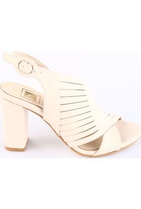 Dgn Kadın 18144 Bilekten Bağlı Lita Topuklu Ayakkabı Ten