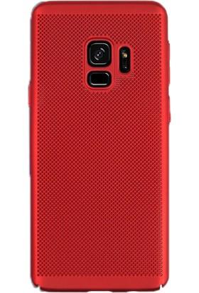 Gpack Samsung Galaxy A8 Plus 2018 Delikli Rubber Kılıf Kırmızı + Ekran Koruyucu Cam + Kalem