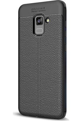 Gpack Samsung Galaxy A8 Plus 2018 Silikon Niss Kılıf Siyah + Ekran Koruyucu Cam + Kalem