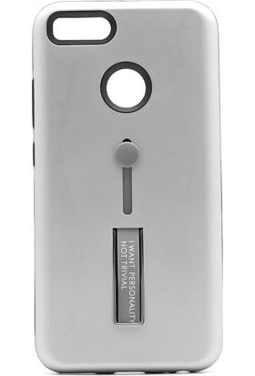 Gpack Xiaomi Redmi 5X A1 Standlı Olive Kapak Gümüş + Ekran Koruyucu Cam + Kalem