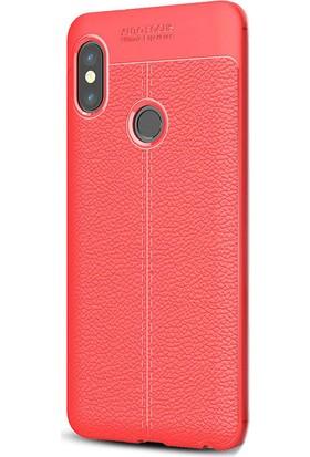 Gpack Xiaomi Redmi Note 5 Pro Silikon Niss Kılıf Kırmızı + Ekran Koruyucu Cam
