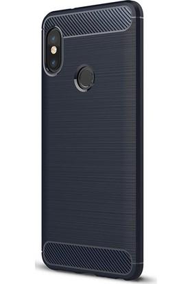 Gpack Xiaomi Redmi Note 5 Pro Silikon Room Kılıf Lacivert + Ekran Koruyucu Cam