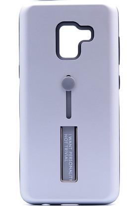 Gpack Samsung Galaxy A8 2018 Standlı Olive Kapak Gümüş + Ekran Koruyucu Cam