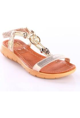 Dgn Kadın 2006 T-Strap İp Aksesuarlı Arkası Lastikli Sandalet Altın