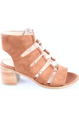 Dgn Kadın 2320 Sarmal Bağlı Topuklu Sandalet Taba Süet