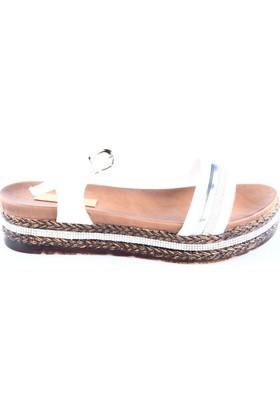 Dgn Kadın 299 Taşlı Kalın Taban Sandalet Beyaz