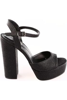 Dgn Kadın 3104 Bilekten Bağlı Lita Topuklu Platform Ayakkabı Siyah Kristal