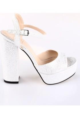 Dgn Kadın 3104 Bilekten Bağlı Lita Topuklu Platform Ayakkabı Gümüş Kristal