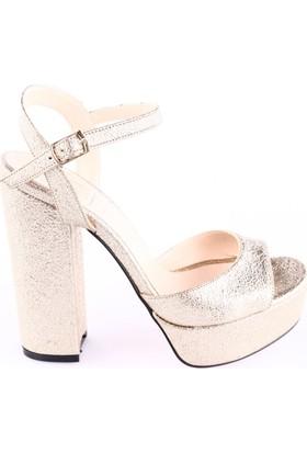 Dgn Kadın 3104 Bilekten Bağlı Lita Topuklu Platform Ayakkabı Altın Kristal