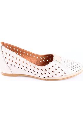 İloz Kadın 380428 Gizli Dolgu Taban Lazerli Ayakkabı Bej Simli